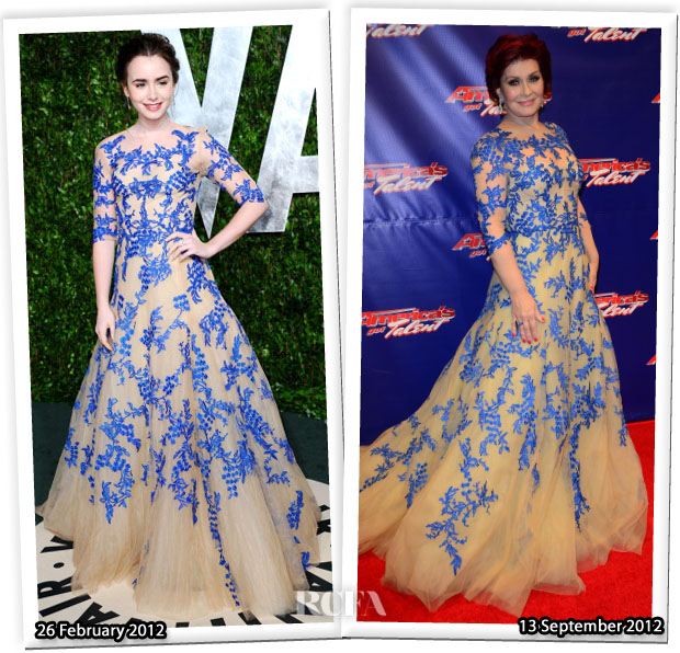 Who Wore Monique Lhuillier Better Lily Collins or Sharon Osbourne