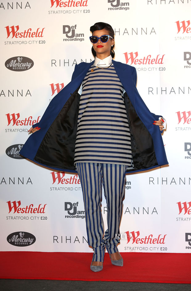 Rihanna in Raf Simons and Acne