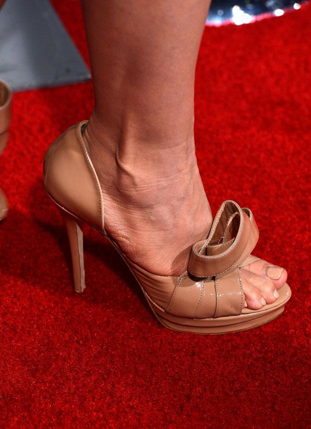 """Toni Collette's Jerome C. Rousseau """"Kier"""" nude patent d'orsay peep toe pumps"""