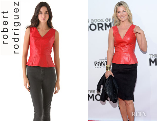 Ali Larter's Robert Rodriguez Leather Peplum Top