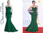 Allison Williams' Oscar de la Renta Faille Strapless Gown