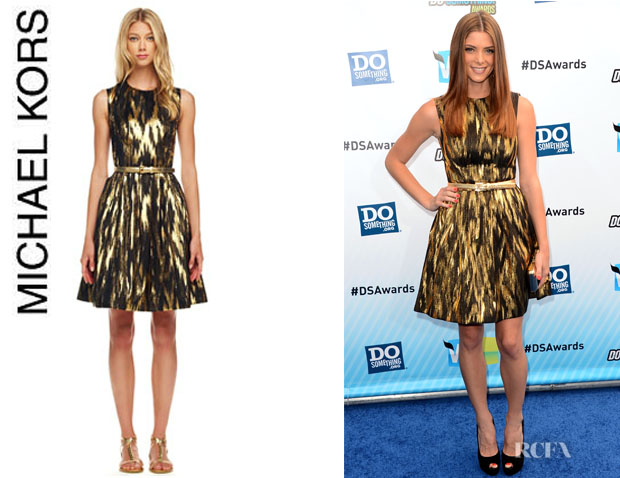 Ashley Greene's Michael Kors Ikat Print A-Line Dress