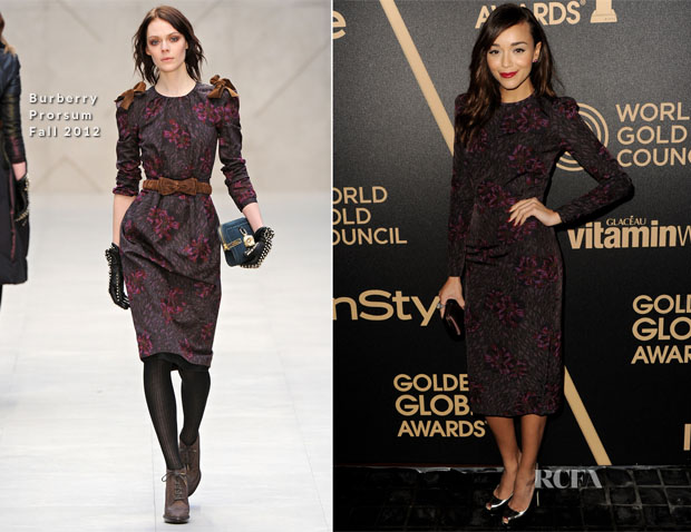 Ashley Madekwe In Burberry Prorsum - The Hollywood Foreign Press Association And InStyle Miss Golden Globe 2013 Party