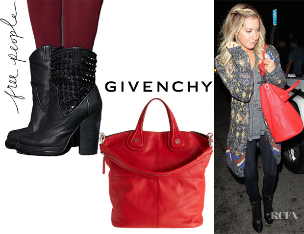 Ashley Tisdale's Free People Chelsea Stud Boots And Givenchy Nightingale Shopper Tote