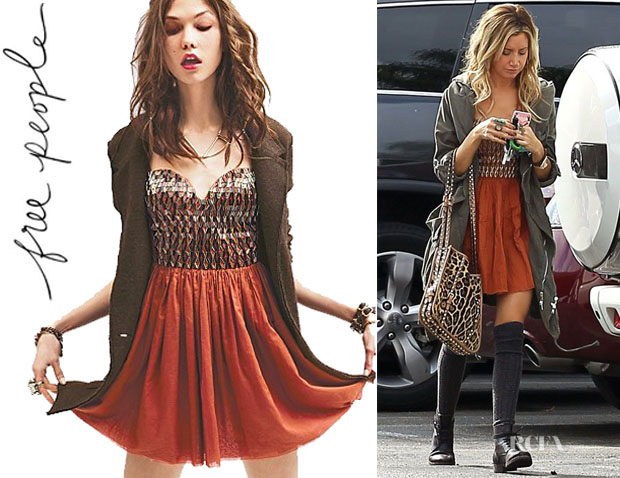 2dbcd8a2fcf5 Who  Ashley Tisdale wearing a Free People Vanity Fair slip dress