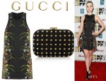 Bella Heathcote's Gucci Floral Print Mini Dress And Gucci Studded Suede Mini Box Clutch