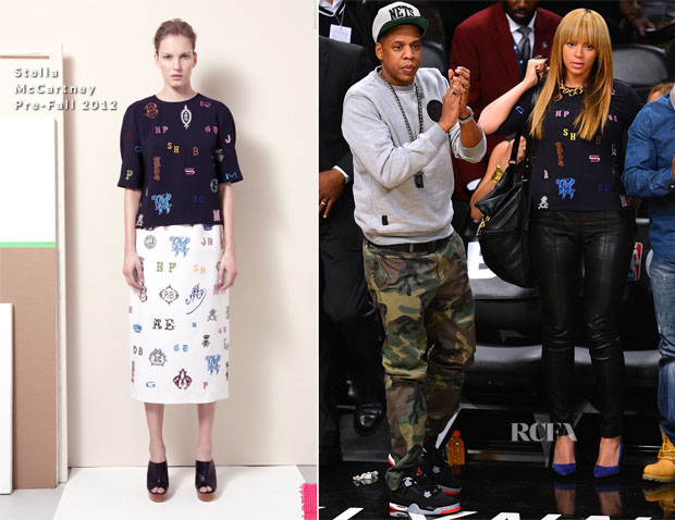 Beyonce Knowles In Stella McCartney - New York Knicks vs