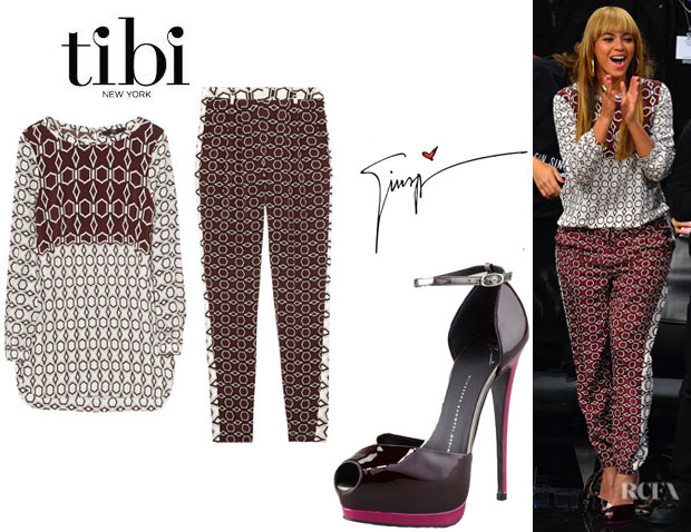 Beyonce Knowles' Tibi Silk Top, Tibi Silk Pants And Giuseppe Zanotti d'Orsay Stilettos