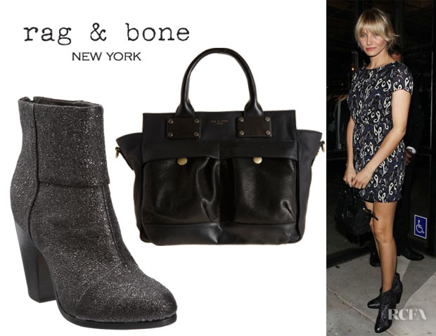 Cameron Diaz' Rag & Bone Newbury Boots And Rag & Bone Pilot Mini Satchel