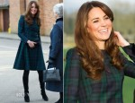 Catherine, Duchess of Cambridge In Alexander McQueen - St Andrews School Visit
