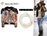 Cheryl Cole's Mulberry Zany Zigzag Printed Jacket, Duffy Snood And Jimmy Choo Youth Biker Ankle Boots