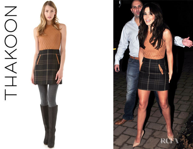 Cheryl Cole's Thakoon Addition Quilted Leather Combo Dress1