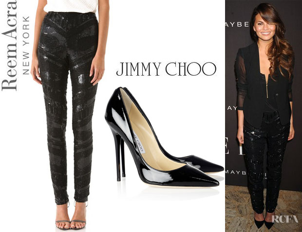 Chrissy Teigen's Reem Acra Embroidered Beaded Pants And Jimmy Choo Anouk Pumps