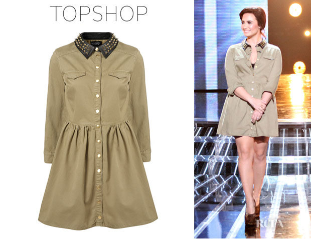 Demi Lovato's Topshop Denim Studded Collar Dress