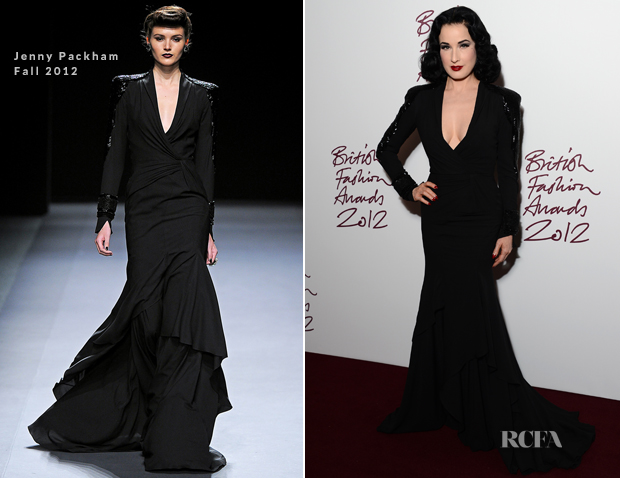 Dita Von Teese In Jenny Packham 2012 British Fashion Awards Red