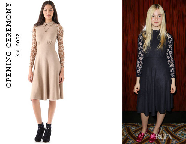Elle Fanning's Opening Ceremony Lace Empire Maxi Dress1