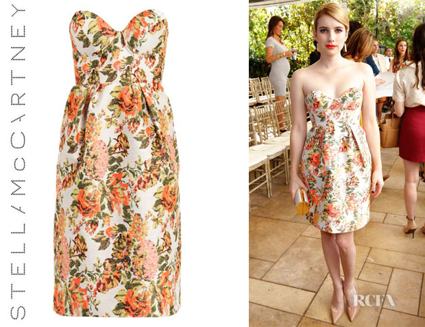 Emma Roberts' Stella McCartney Fletcher Flower Jacquard Dress