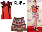 Emma Watson's Peter Pilotto K Vest Knitted Top And Peter Pilotto Natalie Embroidered Mini Skirt