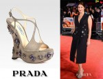 Gemma Arterton's Prada Jeweled Suede Sandals