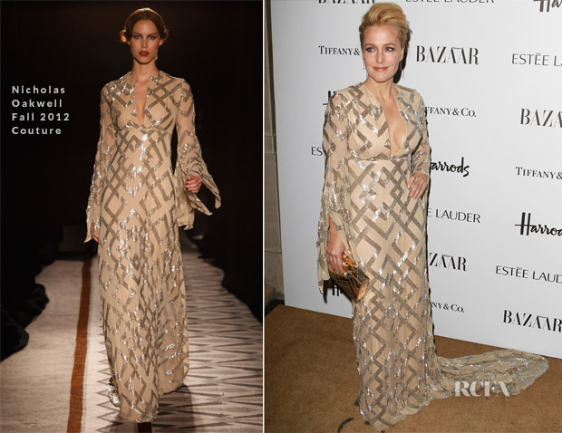 Gillian Anderson In Nicholas Oakwell Couture - Harper's Bazaar Woman of the Year Awards