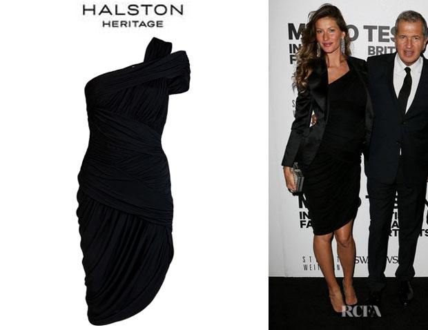 Who Gisele Bundchen Wearing A Halston Heritage Ruched One Shoulder Dress