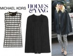 Gwen Stefani's Michael Kors Ikat Print Top And Holmes Yang Leather Back Cape Jacket