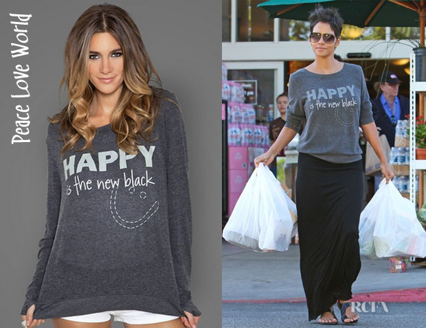 Halle Berry's Peace Love World Happy Is The New Black Sweater