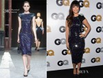 Hannah Simone In Talbot Runhof  - 2012 GQ Men of the Year Party