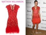 Jacquetta Wheeler's Matthew Williamson Feather Lace Dress