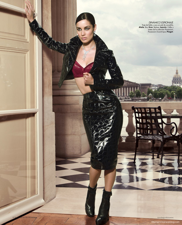 Alaia bra, Lanvin jacket and skirt