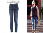 January Jones' Goldsign Thrill Mid-Rise Skinny Jeans