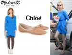 January Jones' Madewell Silk Gatehouse Dress And Chloé Ballet Flats