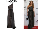 Jennifer Lopez' Lanvin Chantilly Lace One Shouldered Gown