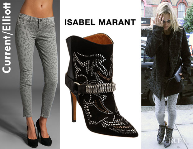 Kate Moss'  Isabel Marant Milwaukee Studded Boots And CurrentElliott Stiletto Jeans