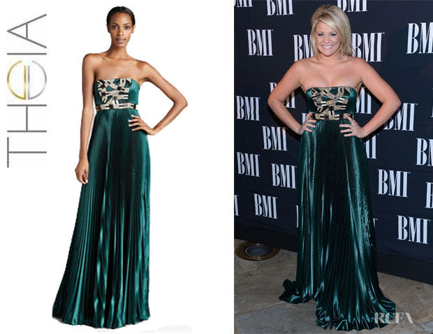 Lauren Alaina's Theia Strapless Beaded Gown1