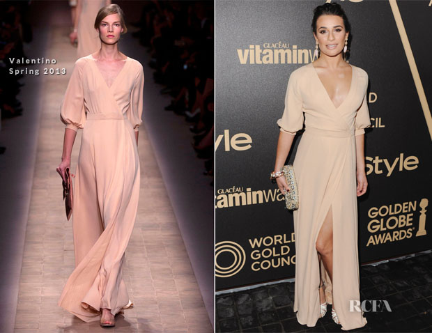 Lea Michele In Valentino - The Hollywood Foreign Press Association And InStyle Miss Golden Globe 2013 Party