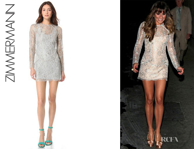 Lea Michele's Zimmermann Lace Mini Dress