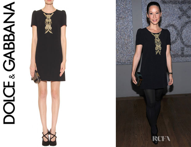 Lucy Liu's Dolce & Gabbana Embroidered Dress