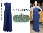 Michelle Trachtenberg's Notte by Marchesa Strapless Gown And Marchesa Crystal And Stone Clutch