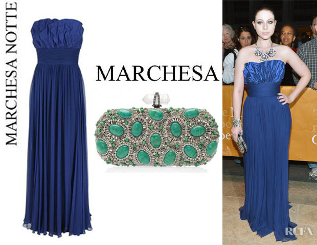 Michelle Trachtenberg's Notte by Marchesa Strapless Gown And MarchesaCrystal And Stone Clutch