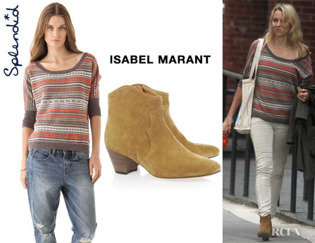 Naomi Watts' Splendid Aspen Fair Isle Sweater And Isabel Marant Dicker Ankle Boots