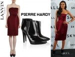 Naomie Harris' Lanvin Strapless Dress And Pierre Hardy Ankle Boots