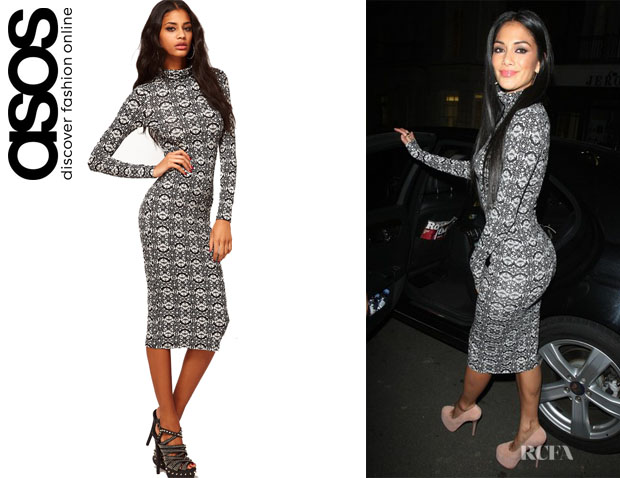 Nicole Scherzinger's ASOS Polo Neck Midi Dress