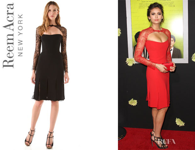 Nina Dobrev's Reem Acra Long Sleeve Lace Cocktail Dress1