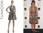 Rashida Jones' Thakoon Painterly Poplin Dress