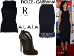 Rihanna's The Row Ribbed Tank Top, Dolce & Gabbana Lace Panel Skirt And Azzedine Alaia Mesh Boots