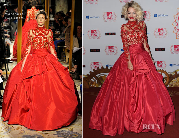 Rita Ora In Marchesa - 2012 MTV EMAs