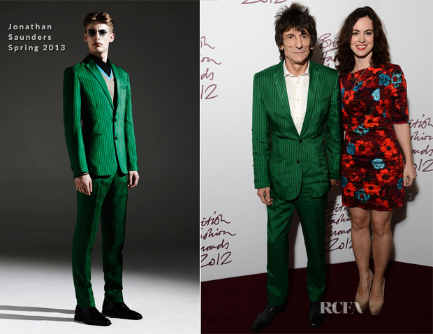 Ronnie Wood In  Jonathan Saunders - 2012 British Fashion Awards