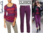 Sarah Jessica Parker's Splendid Breckenridge Thermal Top And Closed Cropped Corduroys Trousers