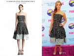 Sasha Pieterse's Carolina Herrera Polka Dot Jacquard Dress